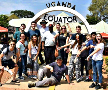 tourists at equator